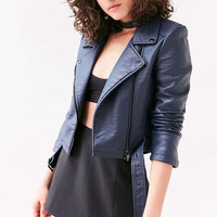 Silence + Noise Pebbled Belted Biker Jacket - Urban Outfitters