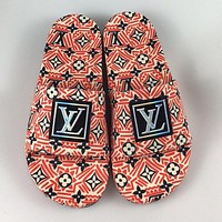 Louis Vuitton LV new couple models full-print color-blocking letters home sandals slippers Shoes