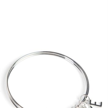 Set of 3 Skinny Bangles with Love Charm
