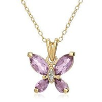 """Yellow Gold-Plated Sterling Silver Amethyst Butterfly Pendant Necklace, 18"""""""