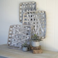 Grey Wash Square Woven Split Wood Baskets (Set of 3)