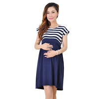 Stripe Cotton Maternity Clothes Dresses For Pregnant Women Pregnancy Clothing Casual Short Sleeve Vestido Gestante Ropa Maternal