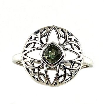 Faceted Moldavite Meteorite Sterling Silver Sacred Geometry Ring