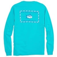Long Sleeve Original Skipjack Tee Shirt in Turquoise by Southern Tide