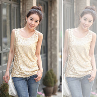 4XL Sleeveless Loose Sequined Bling Shiny Women Tank Tops 2016 New Fashion Gold And Black Sequined Plus Size Shower Vest S22299