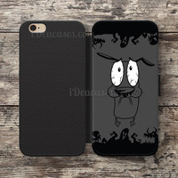 Courage the Cowardly Dog Running Scared Wallet Case For iPhone 6S Plus 5S SE 5C 4S case, Samsung Galaxy S3 S4 S5 S6 Edge S7 Edge Note 3 4 5 Cases