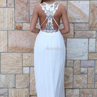 SAVANNAH MAXI , DRESSES, TOPS, BOTTOMS, JACKETS & JUMPERS, ACCESSORIES, 50% OFF SALE, PRE ORDER, NEW ARRIVALS, PLAYSUIT, COLOUR, GIFT VOUCHER,,MAXIS,White,LACE,CUT OUT,Sequin,BACKLESS,SLEEVELESS Australia, Queensland, Brisbane