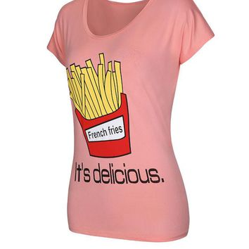 Casual Cute French Fries Printed Short Sleeve T-Shirt