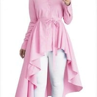 Pink-White Striped Single Breasted Sashes High-Low Turndown Collar Flannel Maxi Dress