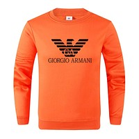ARMANI 2019 new casual wild cotton round neck long-sleeved sweater Orange