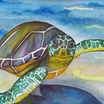 """11 x 14 Sea Turtle Watercolor Painting Titled """" Flying in the Blue """" by SamIamArt"""