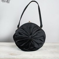 1950's Black Round Bow Evening Purse Bag VINTAGE HANDBAGS PURSES: 60'S 50'S :