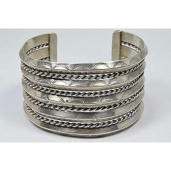 Navajo Hand Stamped .925 Sterling Silver Cuff Bracelet Twist Rope Triangle Stock