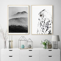 Nordic Style Mountain Landscape Canvas Art Print Painting Poster, Eagle Wall Pictures for Home Decoration, Wall Decor