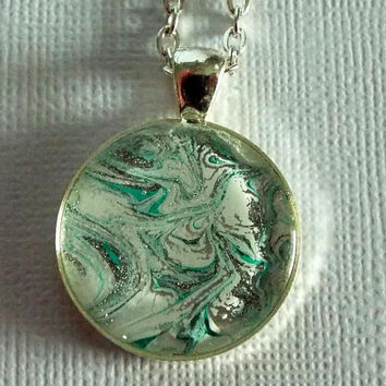 "Necklace, Round Pendant, Jewelry, ""Tundra"", white, green, silver, Hand Painted, OOAK, Gift Idea, Unisex, Artwork, Painted, Christmas"