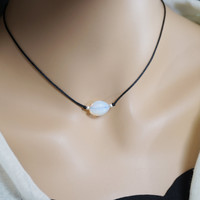 Opal Necklace - Tiny Opal Choker - White Opal Jewelry - Moonstone Necklace
