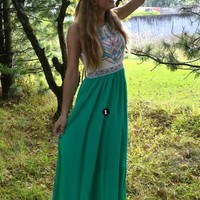 Green Puffball Broderie Sleeveless Tribal Embroidered Color Block Maxi Dress [6880626183]