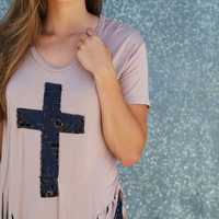 Sequin Cross Fringy Top