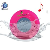 BerryBean BELLE Mini Portable Waterproof Bluetooth 3.0 Wireless Stereo Speaker w Suction Cup works with all Bluetooth Devices (Pink Flamingo)