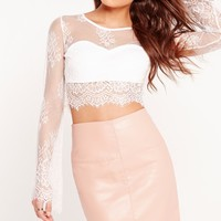 Missguided - Lace Bell Sleeve Crop Top White