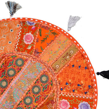 """Orange 22"""" Decorative Round Floor Pillow in Blue Cushion round embroidered Bohemian floor cushion pouf Vintage Indian Foot Stool Bean Bag"""