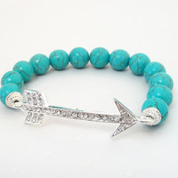 """Blue Turquoise Arrow Head Silver Link Beaded Elastic Bracelet, Fits up to 8.0"""" Gift Under 30"""
