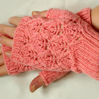 Knit fingerless gloves, lace wool arm warmers, wrist warmers, romantic gloves, armwarmers, hand warmers, lace gloves, pink gloves, mittens