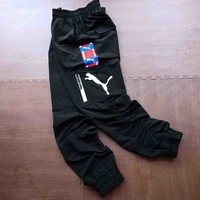 PUMA Fashion new embroidery string mark women and men pants Black
