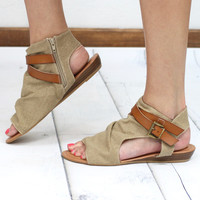 Brenna Canvas Strappy Sandal {Sand Combo}