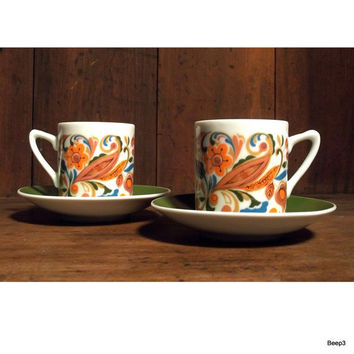 Vintage Espresso Demitasse Cup and Saucer Set - Psychedelic - Arnart - Orange - Green - Paisley