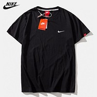 NIKE New fashion embroidery hook couple top t -shirt Black