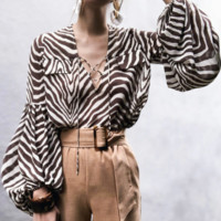 Spring and summer chiffon blouse loose fashion printed shirt commuter female