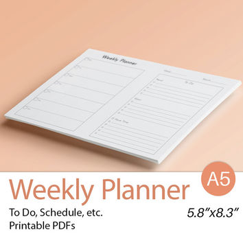 WEEKLY PLANNER A5 Filofax Inserts Printable PDF diy WO2P  undated organizer and To Do list. Horizontal Calendar. Instant Download.