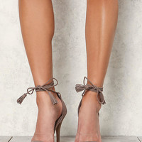 Taupe Suedette Lace Up Tassel Strap Heels