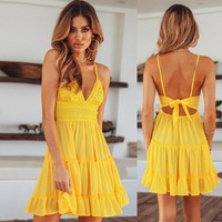 woman dress womans clothing fashion summer sexy strapless solid ladies female lace hollow out mini dresses aesthetic
