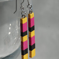 Long Striped Hanji Paper Earrings OOAK Delicate Striped Dangle Earrings Yellow Black Pink Hypoallergenic hooks Lightweight Bee stripes