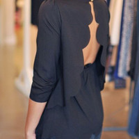 Black Open Back Two-layer Scallop Trims Blouse