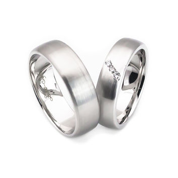 14k white gold satin finish comfort fit wedding band sets for couple dome