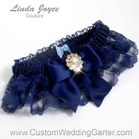 """Navy Blue and Navy Blue Lace Wedding Garter """"Penny 10"""" Gold"""