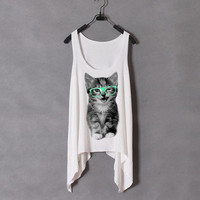 Nerdy Cat With Green Glasses Tank | hudiefly