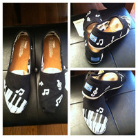 Custom Handpainted TOMS music musical PIANO notes by DesignByStine