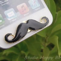 Great Gift for Him Cute Black Alloy Mustache Apple iPhone Home Button Sticker, Cell Phone Charm for iPhone 5,4,4g,4s