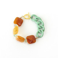 Yellow Quartz Stone Statement Bracelet with Sea Green Aluminum Curb Chain