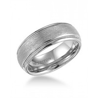 8mm wide white tungsten mens wedding band with brushed finish