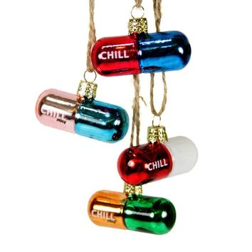 Chill Pill Ornaments (Set of 4)