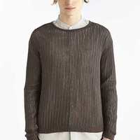 Your Neighbors Open Knit Crew Neck Sweater- Green