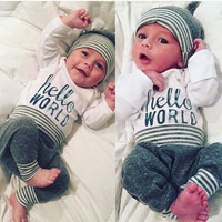 Floral Baby Girls Long Sleeve T-shirt+Pants Outfits 2PCS Hooded Clothes Set