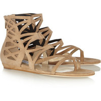 Jimmy Choo Vernie laser-cut suede sandals – 49% at THE OUTNET.COM