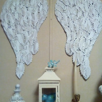 """Large Boutique Shabby Angel Wings wall decor French chic display designs feather die cuts """"Many Blessings"""" crib decor"""