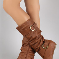 Wild Diva Lounge Buckle Slouchy Wedge Boots